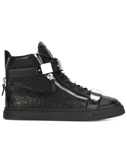 Giuseppe Zanotti Design | Мужское Черный Leather Zip Detail Hi-Top Sneakers From Featuring