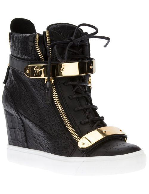 Giuseppe Zanotti Design | Женское Чёрный Wedge Heel Hi-Top Sneakers