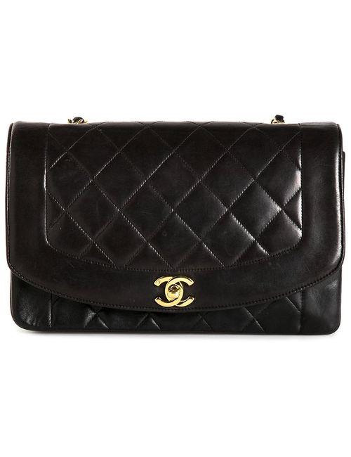 Chanel Vintage | Женская Чёрная Сумка На Плечо В Рельефную Клетку
