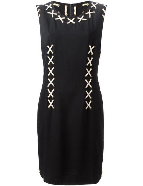 MOSCHINO VINTAGE | Женское Чёрное Платье С Ленточными Вставками