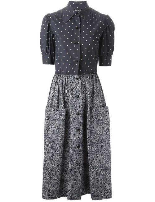 Christian Dior Vintage | Женское Синее Платье В Горошек И Принт