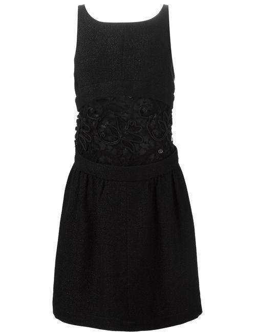 Chanel Vintage | Женское Чёрное Платье С Вышивкой На Прозрачной Панели