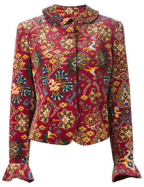 Kenzo | Мужской Красный Бархатный Пиджак В Принт