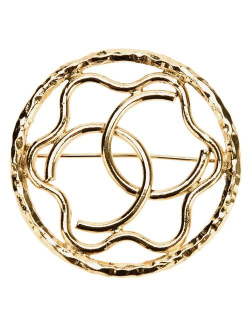 Chanel Vintage | Женская Серебристая Брошка С Логотипом