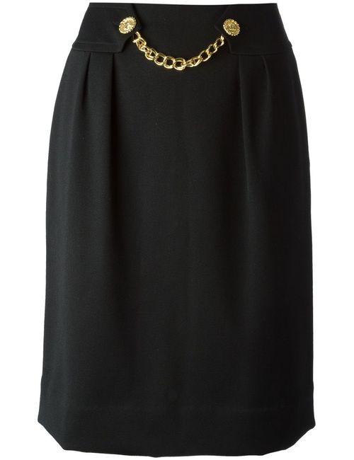 Celine Vintage | Женская Чёрная Юбка С Декоративной Цепью На Поясе
