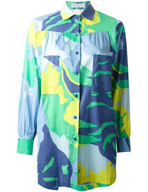 Christian Dior Vintage | Женская Синяя Свободная Рубашка В Принт