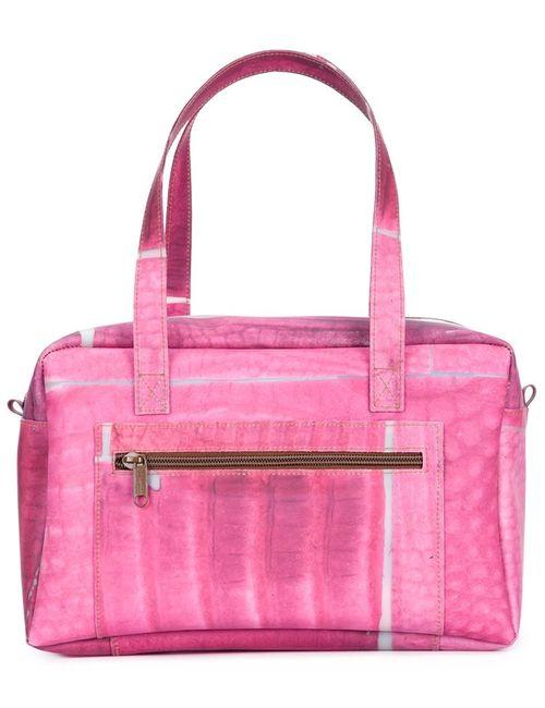 LUISA CEVESE RIEDIZIONI | Женская Розовая Структурированная Сумка-Тоут С Геометрическим Принтом
