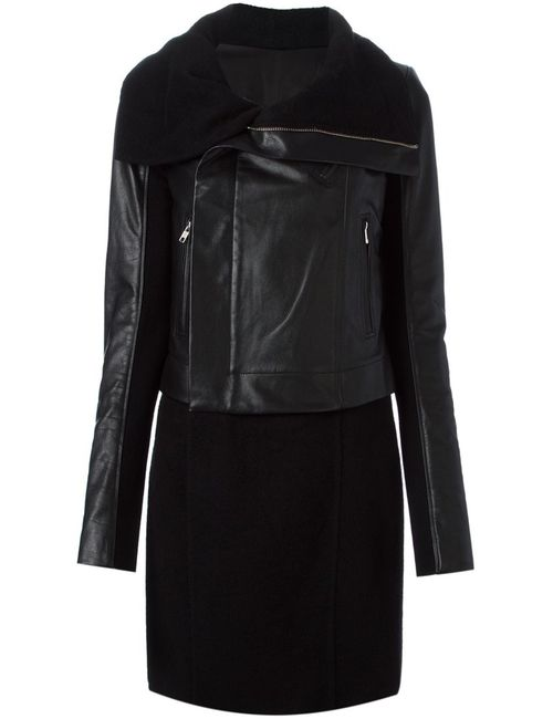 Rick Owens | Женское Чёрный Leather And Cashmere Panelled Biker Coat From