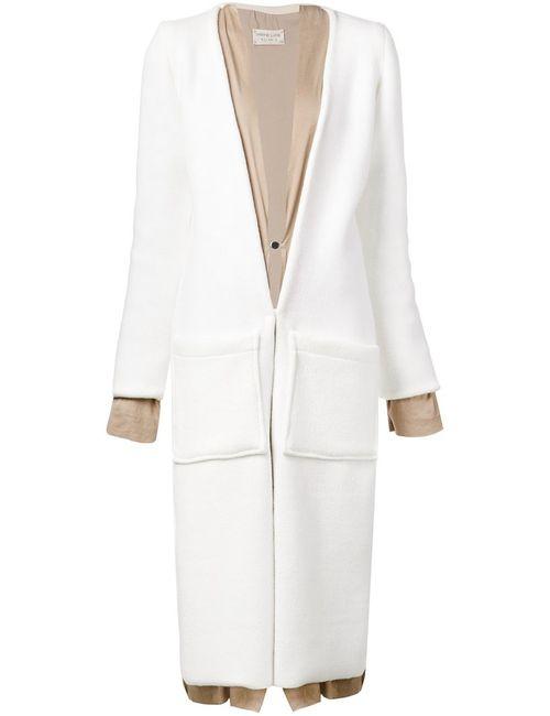 SABINE LUISE | Женское Белое Пальто С Контрастной Отделкой