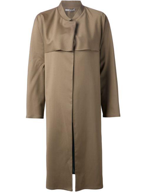 DUSAN | Женское Коричневое Длинное Пальто С Контрастной Панелью