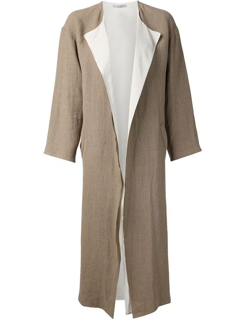 DUSAN | Женское Nude & Neutrals And Chalk Linen Long Coat From