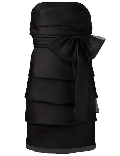 Saint Laurent | Женское Чёрный Silk Ruffled Bow Dress From Featuring A