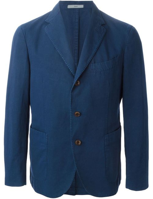 Boglioli | Мужское Синий Cotton-Linen Blend Three Button Blazer From