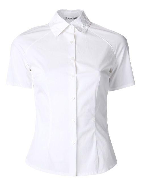 SCHELLA KANN | Женское Белый Stretch Cotton Paper Collar Blouse From Schella