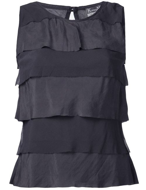 Kristensen Du Nord | Женское Серый Charcoal Silk Georgette Tank Top From Featuring