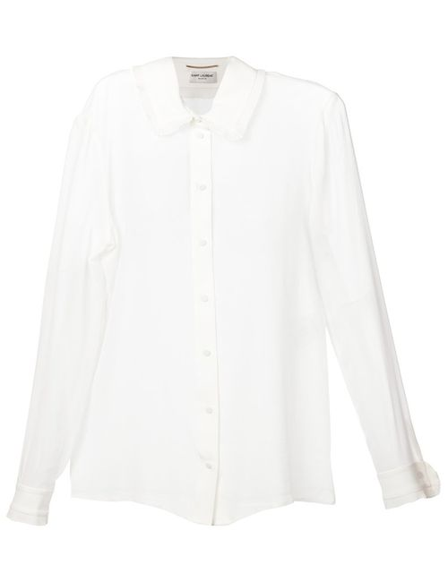 Saint Laurent | Женское Silk Georgette Frills Blouse From Featuring A
