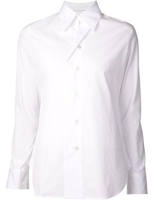 Yohji Yamamoto   Женская Белая Рубашка Со Складной