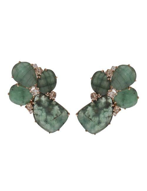 FEDERICA RETTORE | Женское Синий Emerald Petal Earrings In Emerald From