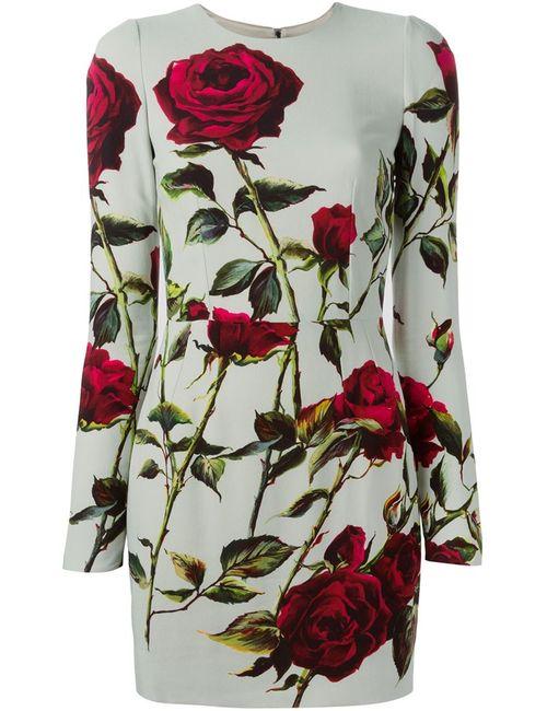 Dolce & Gabbana | Женское Многоцветное Облегающее Платье С Принтом Роз