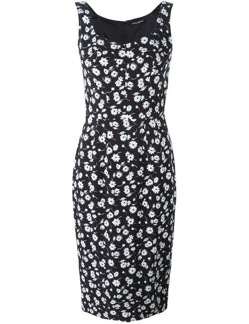 Dolce & Gabbana | Женское Чёрное Облегающее Платье С Цветочным Принтом