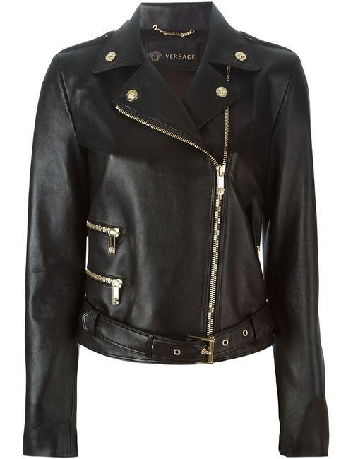 Versace | Женская Чёрная Байкерская Куртка
