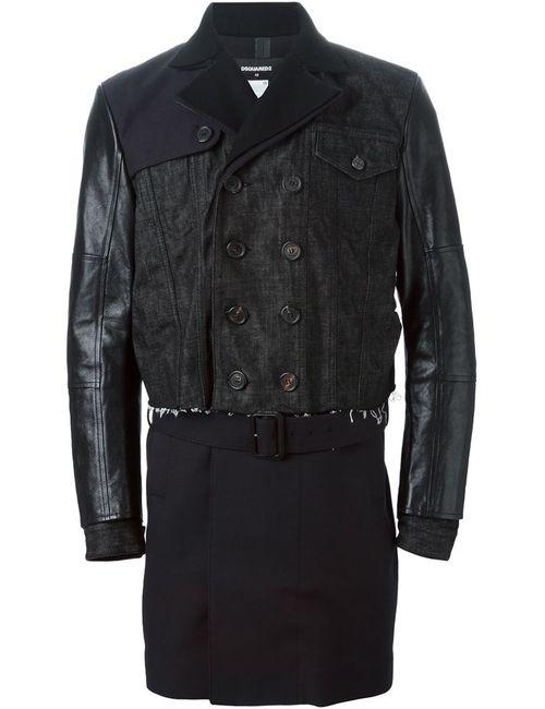 Dsquared2 | Мужское Чёрное Пальто С Контрастными Панелями