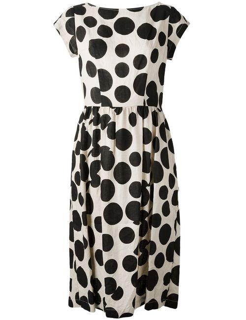COMME DES GARCONS COMME DES GARCONS | Женское Off And Linen Flared Polka Dot Dress