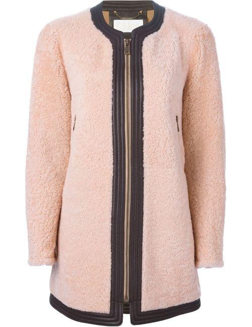 Chloe | Женское Розовое Пальто С Контрастной Окантовкой