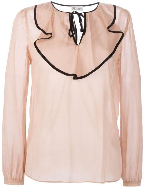 Red Valentino | Женская Розовая Блузка С Оборками