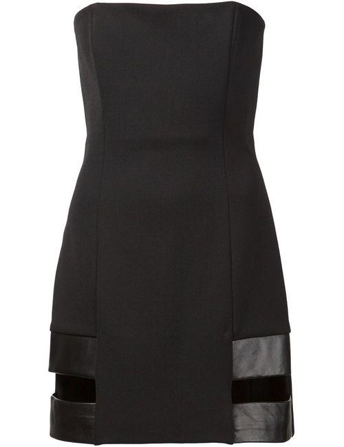 Anthony Vaccarello | Женское Чёрное Платье Без Бретелек С Вырезными Деталями