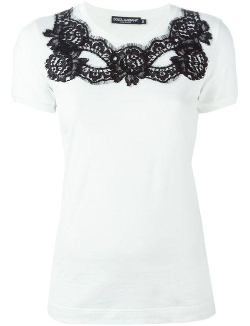Dolce & Gabbana | Женское Белый Lace Detail T-Shirt