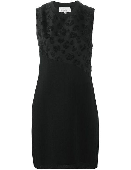 3.1 Phillip Lim | Женское Чёрное Платье Шифт С Леопардовым Принтом