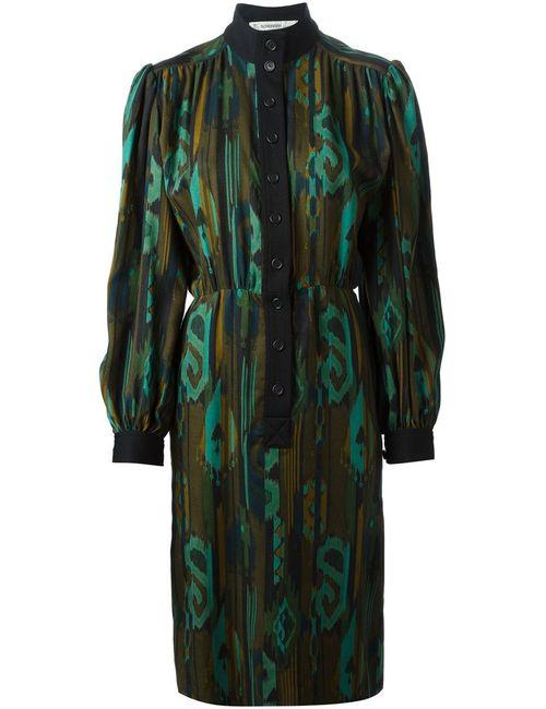 Jean Louis SCHERRER VINTAGE | Женское Чёрное Платье С Принтом