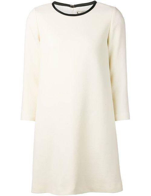 Bouchra Jarrar | Женское Белое Платье-Шифт С Контрастной Окантовкой