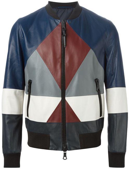 Valentino | Мужская Синяя Куртка-Бомбер С Геометрическим Узором