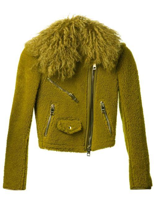 Burberry Prorsum   Женская Зелёная Байкерская Куртка Из Овчины