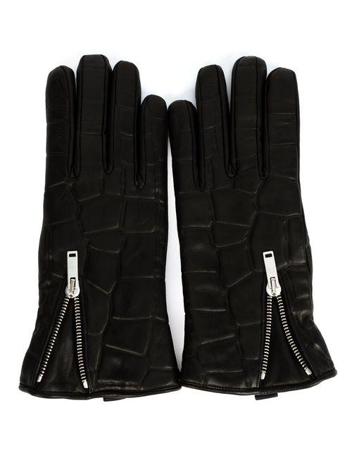 Alexander McQueen | Мужское Чёрный Crocodile Effect Gloves
