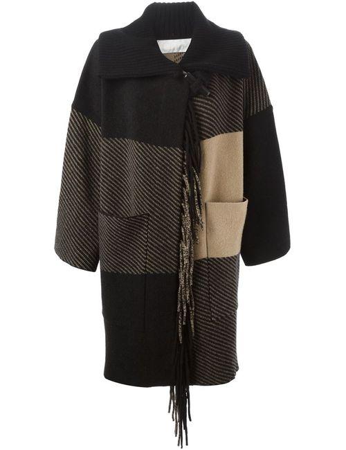 Chloe | Женское Черный Пальто С Бахромой И Панельным Дизайном