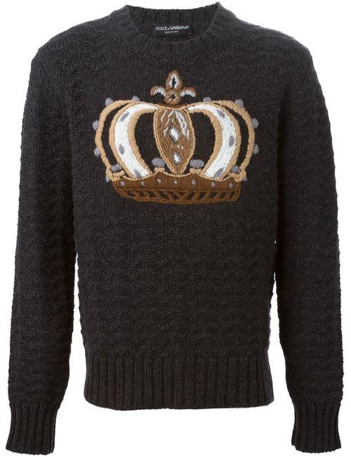 Dolce & Gabbana | Мужской Серый Свитер С Вышивкой Короны