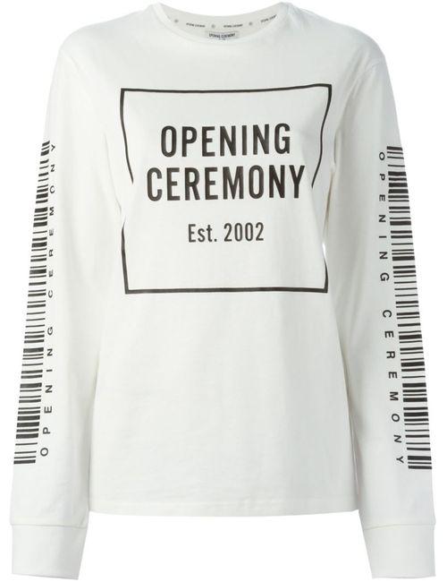 Opening Ceremony | Женская Белая Толстовка С Принтом Логотипа