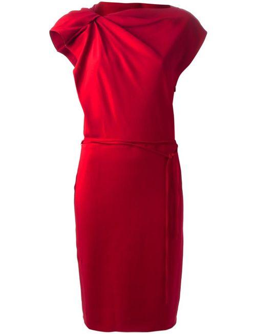 Lanvin | Женское Красное Платье С Присборенным Плечом