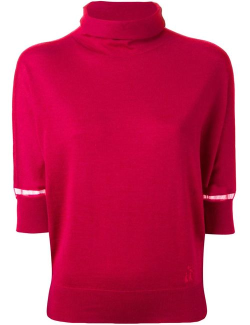 Lanvin | Женский Красный Свитер С Прозрачными Панелями