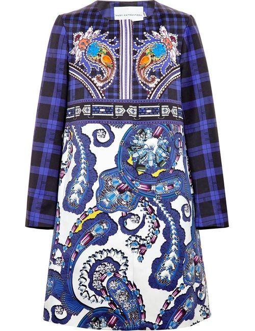 Mary Katrantzou | Женское Синее Пальто С Принтом Пейсли