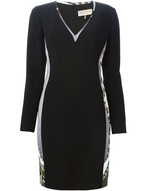 Emilio Pucci | Женское Чёрное Платье C Панельным Дизайном И V-Образным Вырезом