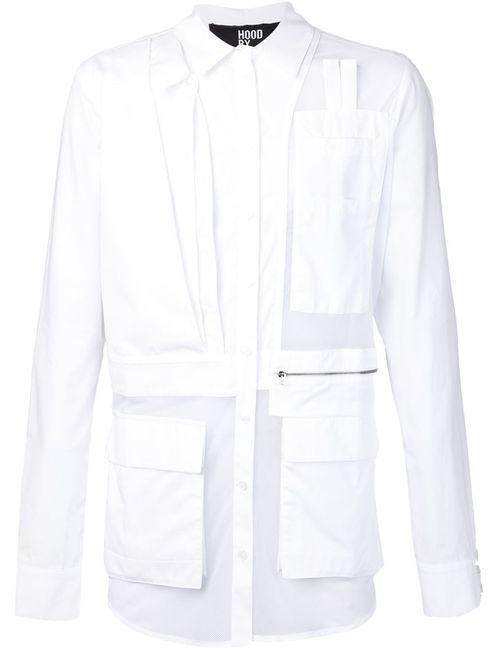 HOOD BY AIR | Мужская Белая Рубашка С Сетчатыми Панелями