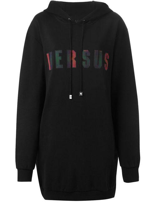 Versus | Женская Чёрная Удлиненная Толстовка С Капюшоном И Логотипом
