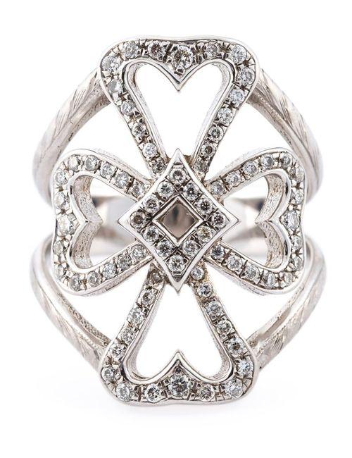 LOREE RODKIN   Женское Серебристый 18kt Diamond Maltese Cross Ring From Featuring