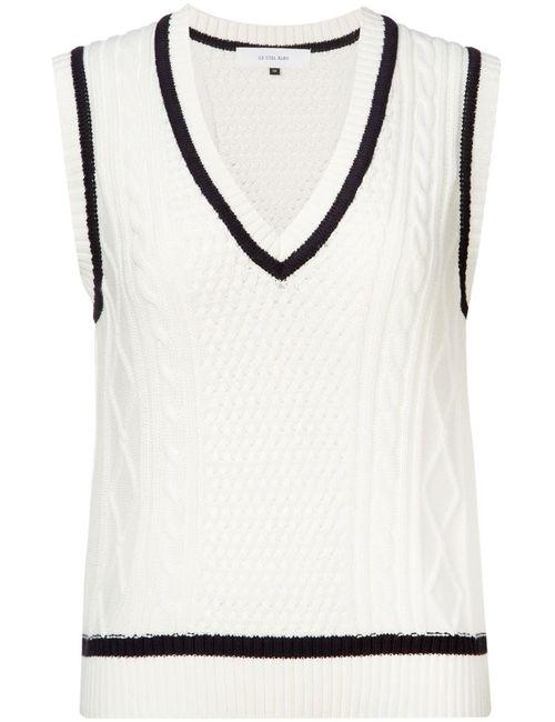 LE CIEL BLEU | Женское Белый Ribbed V Neck Vest