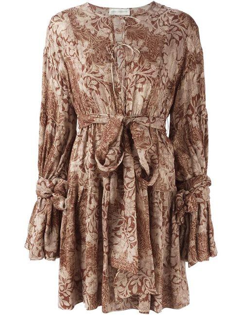 Faith Connexion | Женское Коричневое Платье С Оборками И Принтом