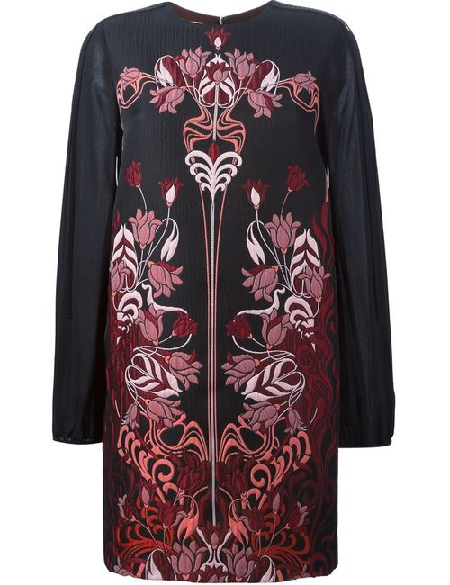 GIAMBA | Женское Чёрное Платье С Цветочной Вышивкой